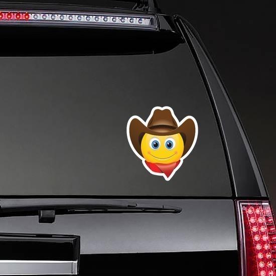 Cute Cowboy with Bandana Brown Hat Emoji Sticker on a Rear Car Window example