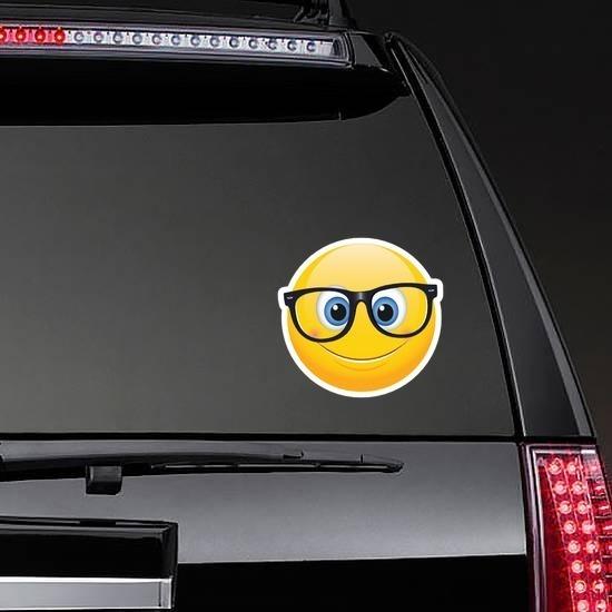 Cute Crooked Glasses Emoji Sticker on a Rear Car Window example