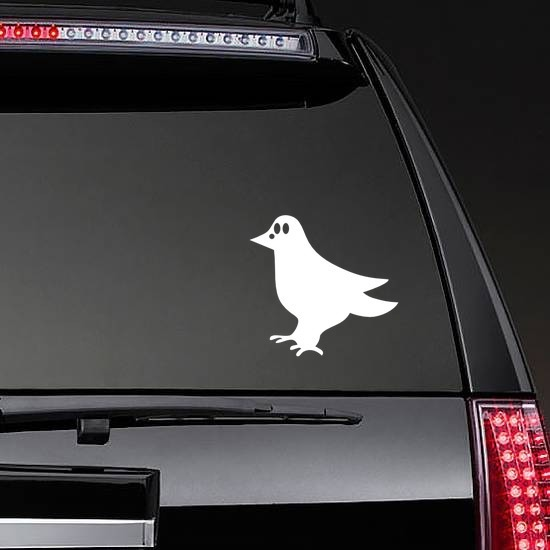 Cute Crow Sticker on a Rear Car Window example