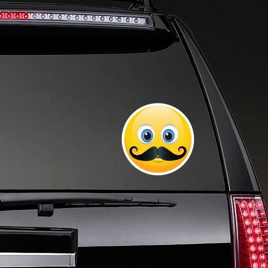 Cute Mustache Emoji Sticker on a Rear Car Window example