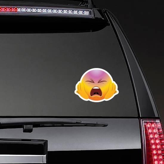 Cute Screaming Hands on Face Emoji Sticker on a Rear Car Window example