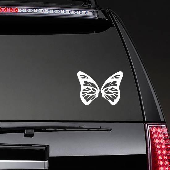 Decorative Butterfly Wings Sticker on a Rear Car Window example