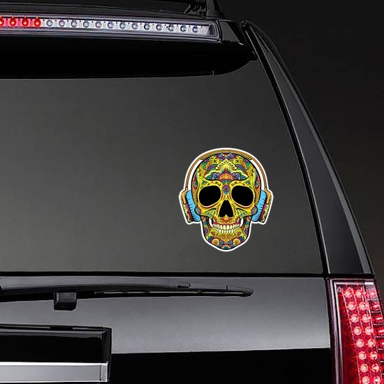 Decorative Skull with Headphones On Sticker on a Rear Car Window example