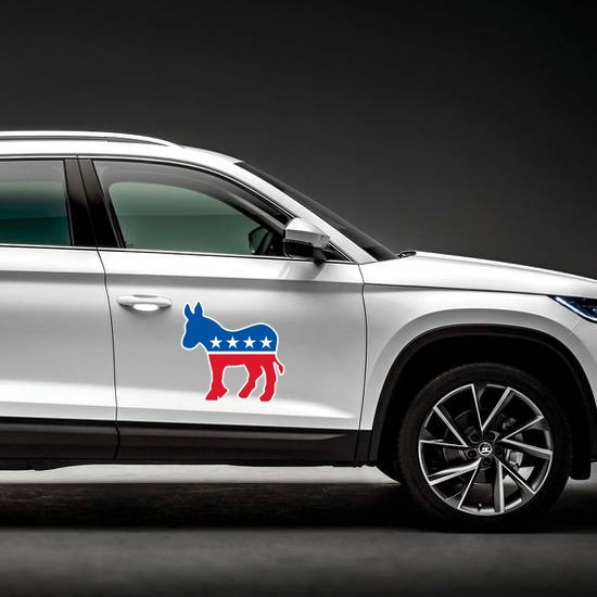 Democrat Donkey Printed Color Magnet on a Car Side example