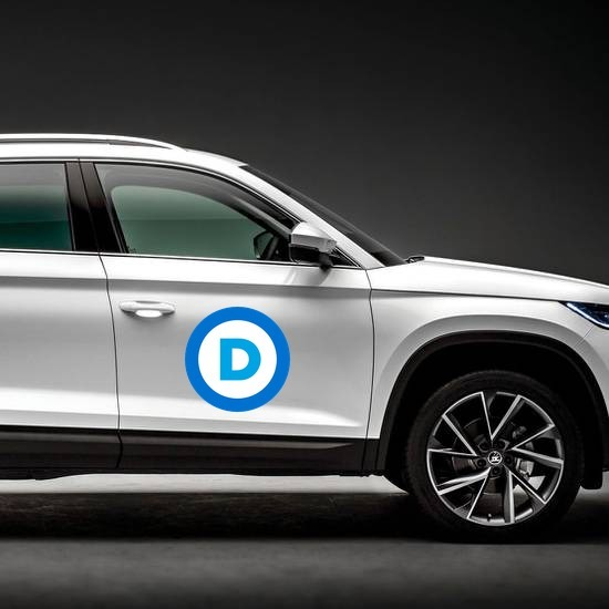 Democratic Party Logo Printed Color Magnet on a Car Side example