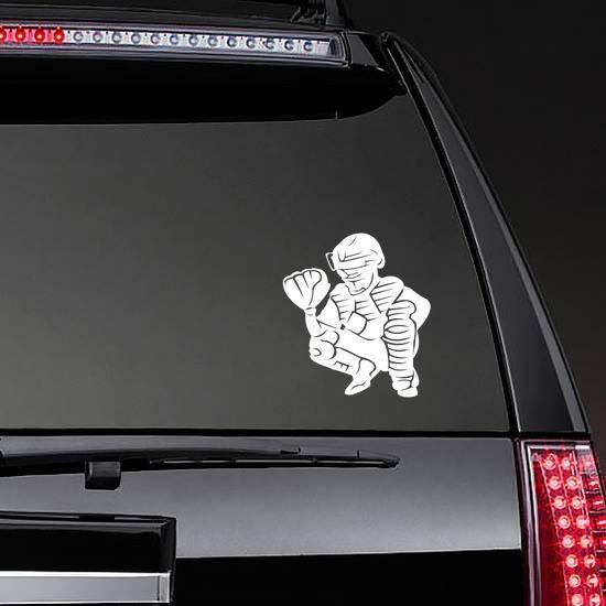 Detailed Baseball Softball Catcher Sticker on a Rear Car Window example