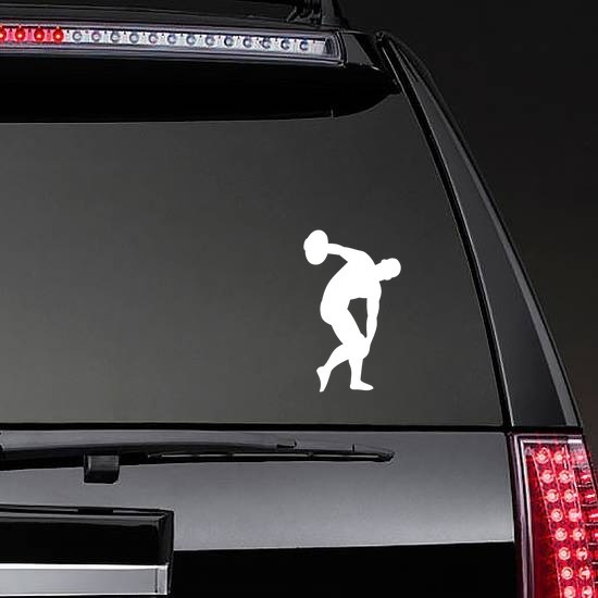Discus Sticker on a Rear Car Window example