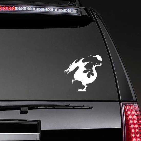 Dragon Made Of Flames Sticker on a Rear Car Window example