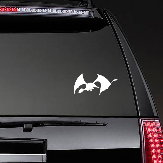 Dragon With Large Wings Sticker on a Rear Car Window example
