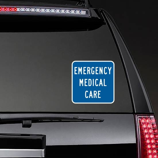 Emergency Medical Care Sticker on a Rear Car Window example