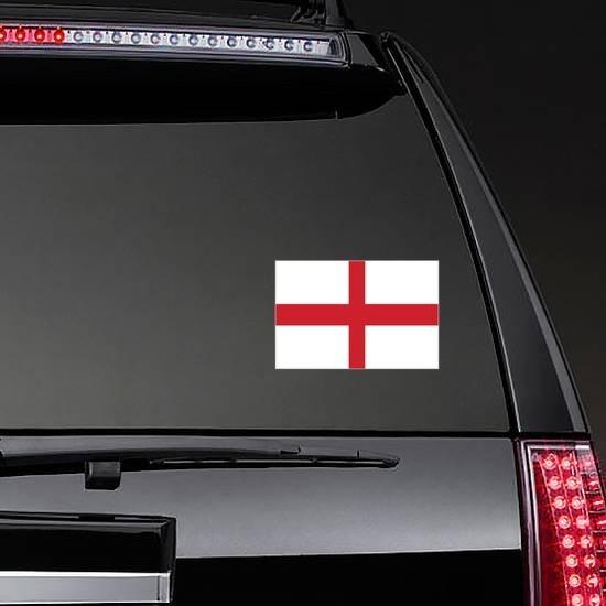 England Flag Sticker on a Rear Car Window example