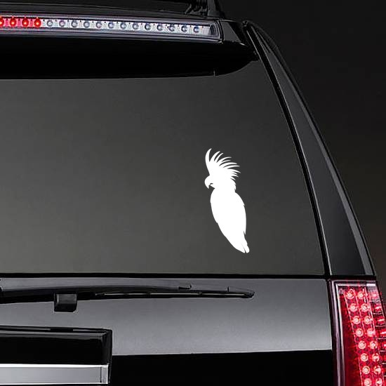 Feathery Cockatoo Sticker on a Rear Car Window example