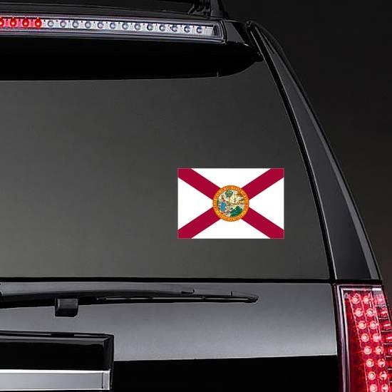 Florida Fl State Flag Sticker on a Rear Car Window example