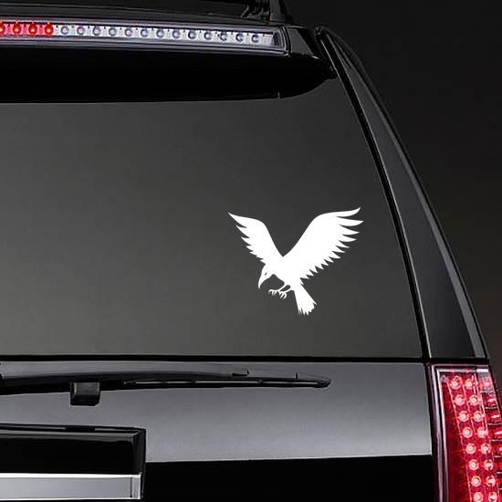 Flying Crow Sticker on a Rear Car Window example