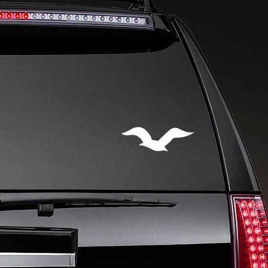 Flying Seagull Sticker on a Rear Car Window example