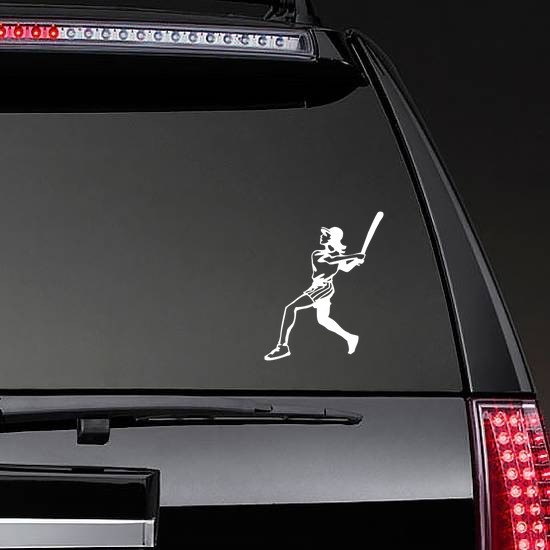 Girl Softball Player Sticker on a Rear Car Window example