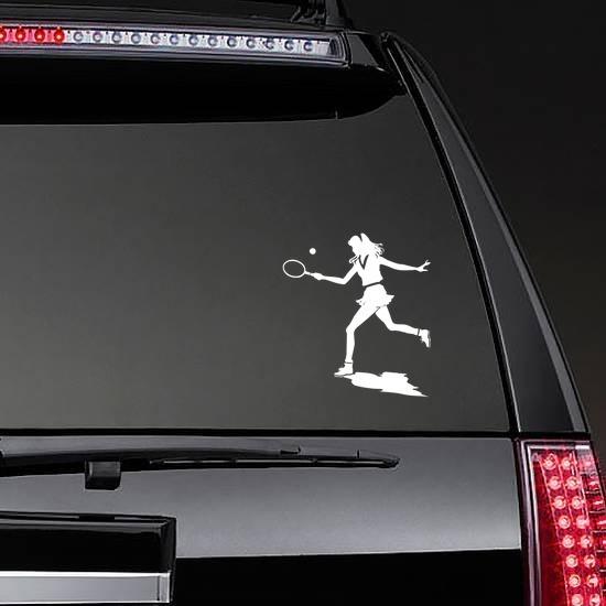 Girl Tennis Player Sticker on a Rear Car Window example