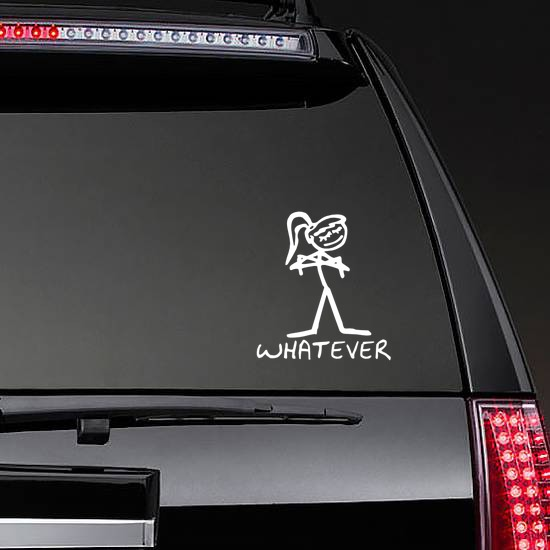 Girl With Words Whatever Vinyl Lettering Sticker on a Rear Car Window example