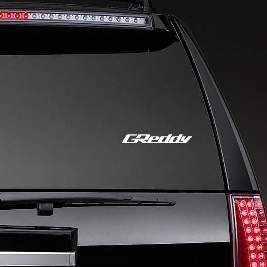 GReddy Sticker on a Rear Car Window example
