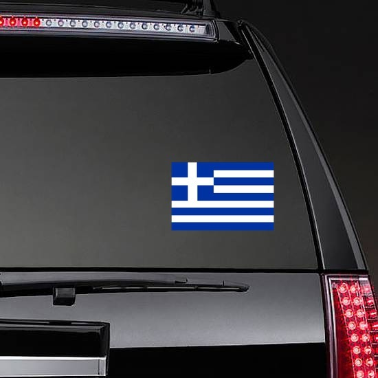 Greece Flag Sticker on a Rear Car Window example