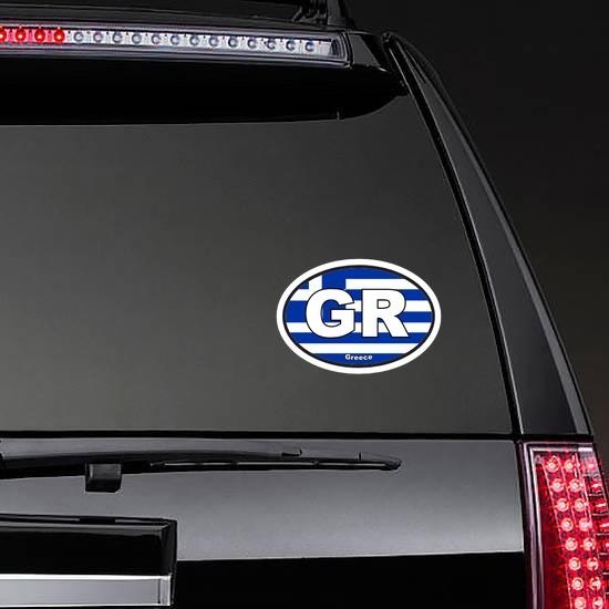 Greece Gr Flag Oval Sticker on a Rear Car Window example