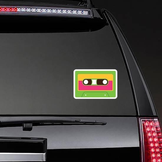 Green Cassette Tape Hippie Sticker on a Rear Car Window example