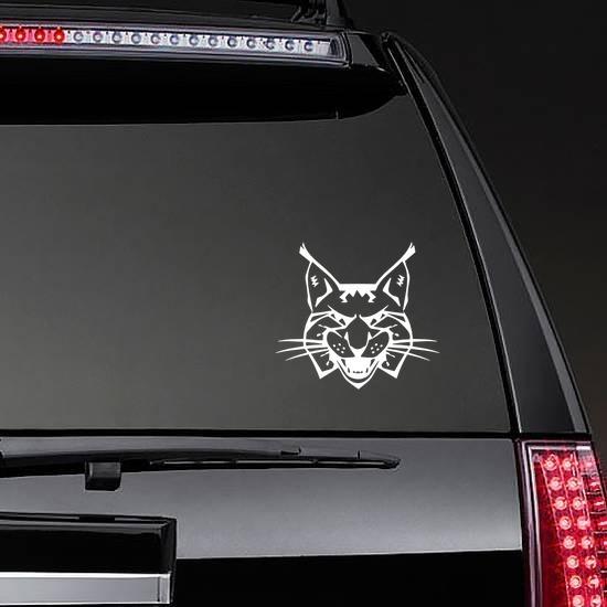 Growling Lynx Head Sticker on a Rear Car Window example