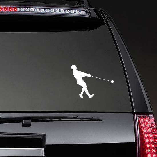 Hammer Throw Leaning Back Sticker on a Rear Car Window example