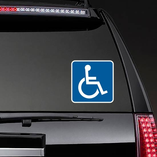 Handicapped Sticker on a Rear Car Window example