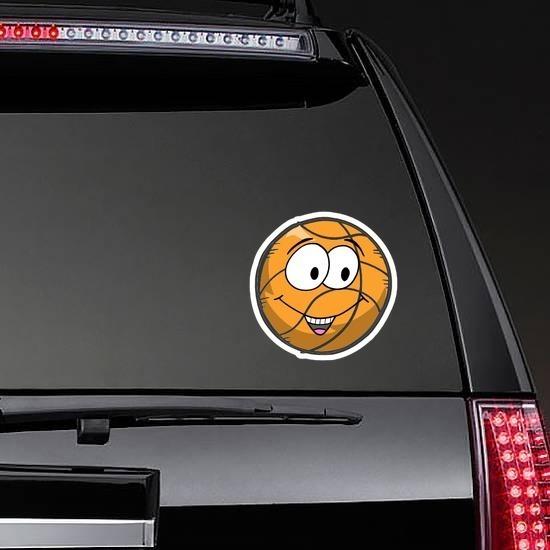 Happy Emoji Basketball Sticker on a Rear Car Window example
