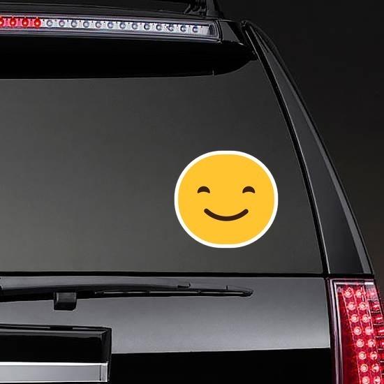 Happy Face Emoji Hippie Sticker on a Rear Car Window example