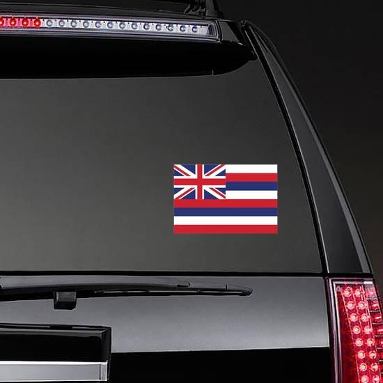 Hawaii Hi State Flag Sticker on a Rear Car Window example