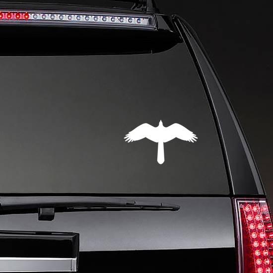 Hawk Birds Eye View Sticker on a Rear Car Window example