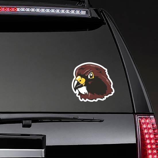 Hawk Head Mascot Sticker on a Rear Car Window example