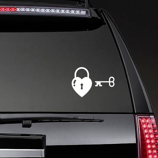 Heart With Lock & Key Sticker on a Rear Car Window example