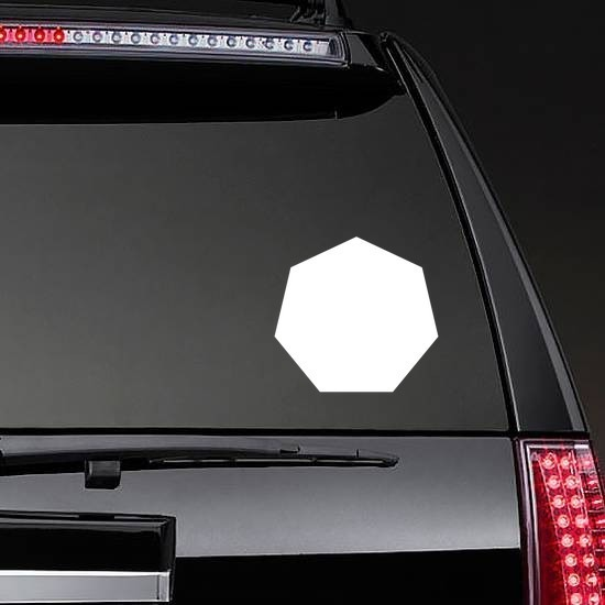 Heptagon Shape Sticker on a Rear Car Window example