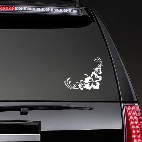 Hibiscus Flowers Corner Sticker on a Rear Car Window example
