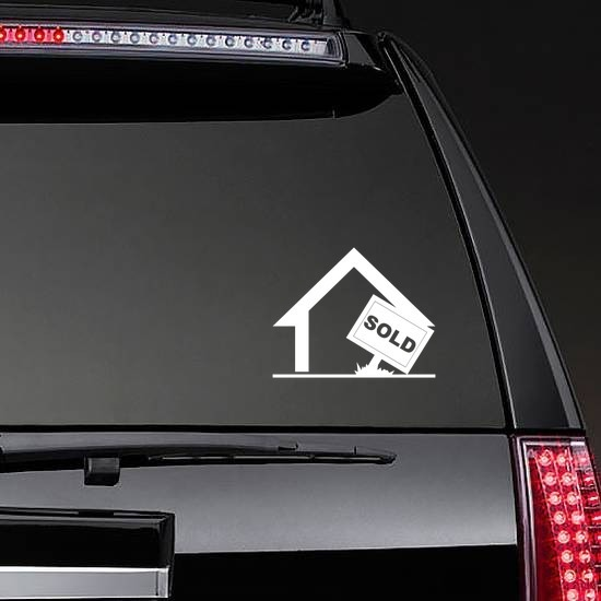 House With Sold Sign Sticker on a Rear Car Window example