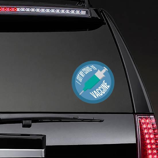 I Got My Covid-19 Vaccine Sticker on a Rear Car Window example