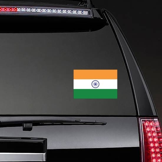 India Country Flag Sticker on a Rear Car Window example