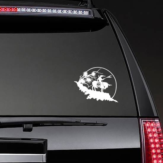 Indian With Spear On A Horse Sticker on a Rear Car Window example