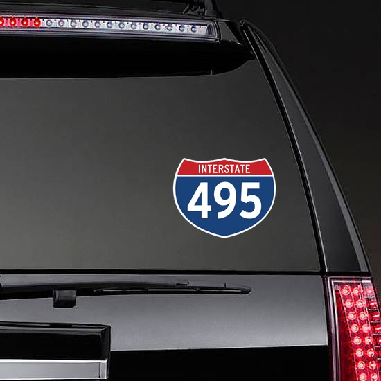 Interstate 495 Sign Sticker on a Rear Car Window example