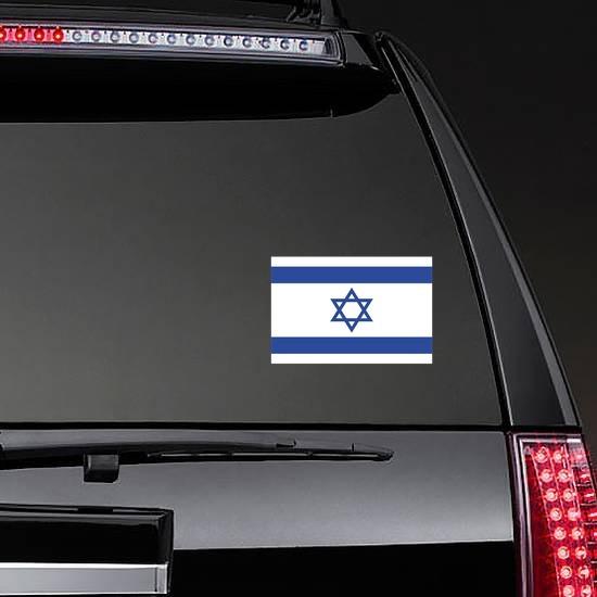 Israel Flag Sticker on a Rear Car Window example