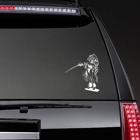 Japanese Woman Warrior With Long Hair And Sword Sticker on a Rear Car Window example