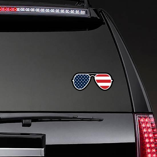 Joe Biden American Flag Sunglasses Sticker on a Rear Car Window example