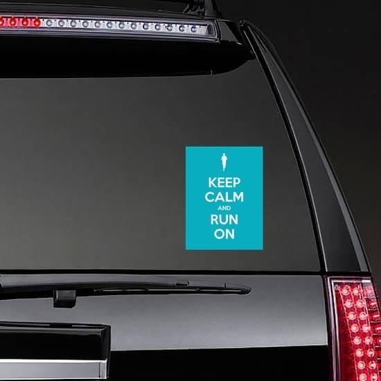 Keep Calm And Run On Sticker on a Rear Car Window example
