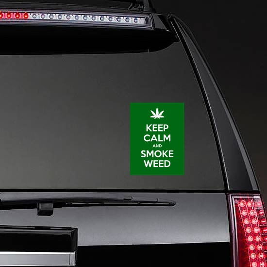 Keep Calm And Smoke Weed Sticker on a Rear Car Window example