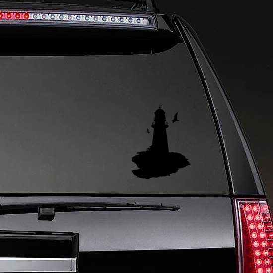 Lighthouse With Seagulls Sticker on a Rear Car Window example