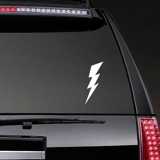 Classic Lightning Bolt Sticker on a Rear Car Window example
