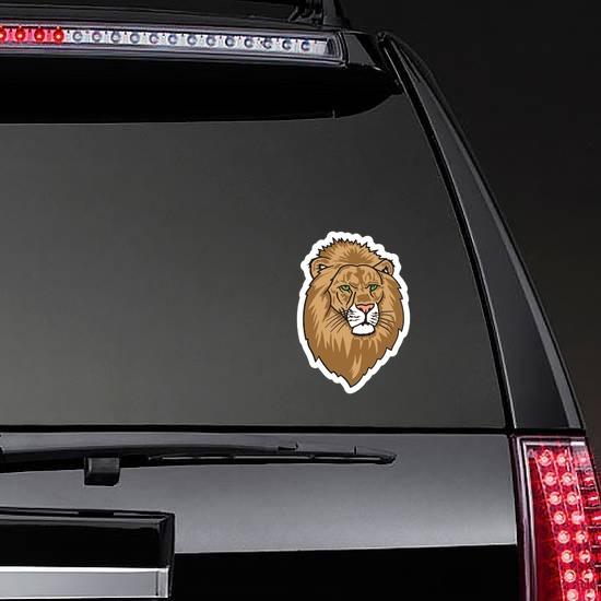 Lion Head Mascot Sticker on a Rear Car Window example